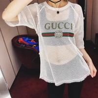 GUCCI White Hollow Mesh Tee