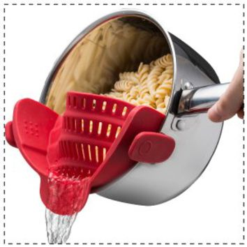 Kitchen Gizmo Snap 'N Strain™ Strainer, Clip On Silicone Colander, Fits all Pots and Bowls - Red
