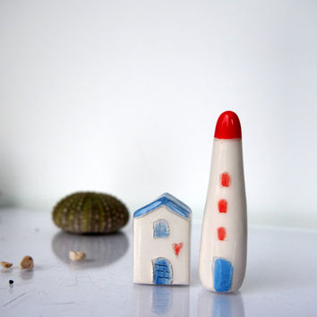 Summer home decor, Collectibles Miniature Ceramic Beach house and Lighthouse in white red and blue, Little clay miniature sculptural art
