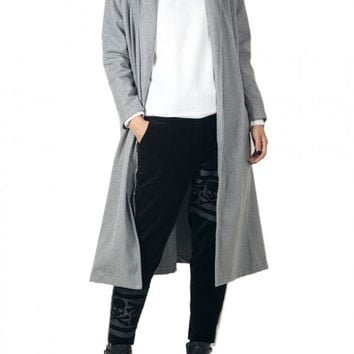 Gray Lapel Pocket Detail Longline Coat