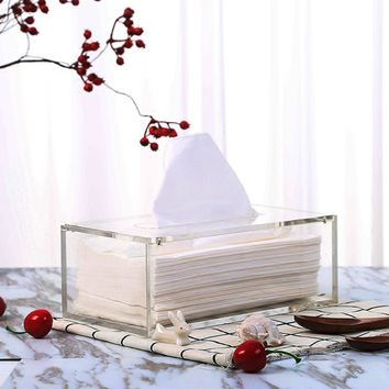Simple Transparent Tissue Box Acrylic Clear Paper Cover Convenient Bathroom Auto Storage Case