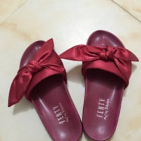 PUMA fenty rihanna silk slides sneakers-spring-Bow Slide Sandals Shoes (10-color) Wine red