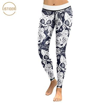 ISTider 3D Printing Animal Cats Black White Leggings Women Halloween Gothic Skulls Sexy Ladies Skinny Trousers Workout Pants