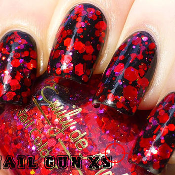 "Nail polish - ""Ruby Soho"" red and pink glitter in a clear base"