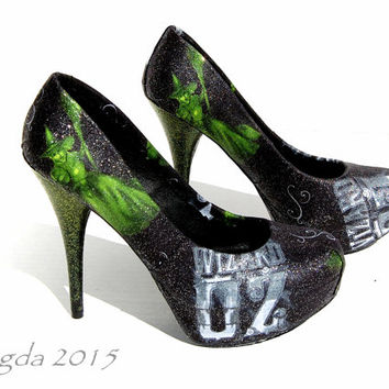 Something Wicked- Wizard of Oz Heels- wicked witch pumps- green- wedding shoes- gift for her- glitter heels- OZ- Dorothy-Elphaba