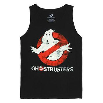 Ghostbusters Logo To Go Licensed Men's Tank Top Shirt - Black