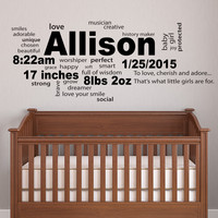 Personalized baby Newborn birth stats and word collage wall decal