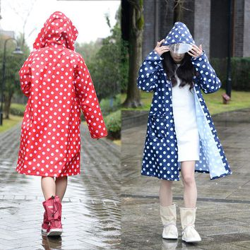 Hooded Raincoat women poncho waterproof long dots,Outdoor Travel Rain Coat Ponchos Jackets Female cloak Chubasqueros Mujer