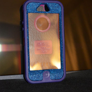 Otterbox Case iPhone 5 Glitter Cute Sparkly Bling Defender Series Custom Case  Blue Apatite Purple