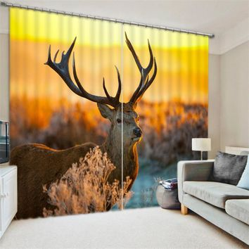 Luxury Elegent 3D deer Photo Printing Blackout Window Curtain For Living room Bedding room Decoration Drapes Cortinas