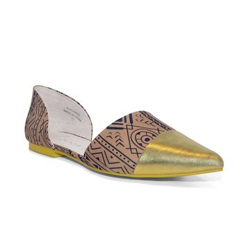 Gold Ethnic Print Goldtipped Toe Flats