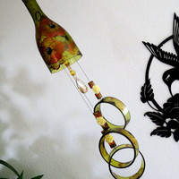 Wine bottle wind chime, Amber wind chime, Copper flowers, yard art, patio decor, recycled bottle wind chime, hand painted chime