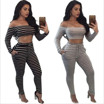 2017 Autumn Striped Print Two Piece Set Women Off Shoulder Crop Top And Pants Sets Cotton Casual Outfits Overalls Sweatsuit