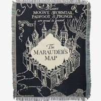 Harry Potter Marauder's Map Black Woven Tapestry Throw Blanket