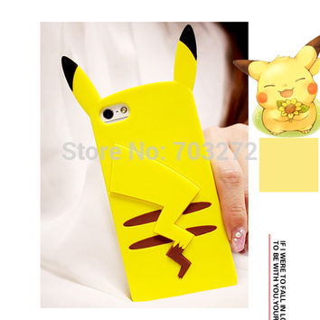 Cute 3D Cartoon Pocket Monsters Pika Soft Silicone Case For iPhone 7 6 6S Plus 5 5S SE 4 4S Pikachu Rubber Cover Phone Cases