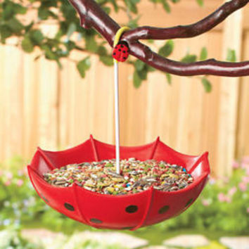Ladybug Umbrella Bird Feeder or Birdbath Hang From Tree Yard Garden Patio Decor