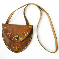 FRENCH VINTAGE 1970's ,Brown & Green Tooled Leather Shoulder Mini Purse /Small Bag , Boho Leather Bag , Pretty Flower Design , Wallet Bag