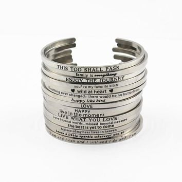 6pcs Mix Random Stainless Steel Bar Engraved Positive Inspirational Quote Cuff Mantra Bracelet Bangle for women mens gift