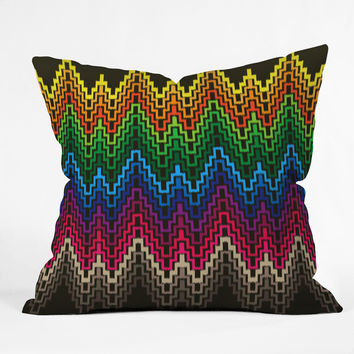 Raven Jumpo Rainbow Ikat Throw Pillow