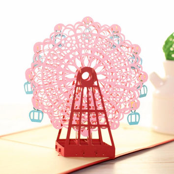 Diy 3D Greeting Card With Envelope Pop Up Cute Birthday Gift Cards Ferris Wheel Valentine' Day Handmade Souvenir 2016