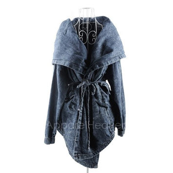 Women's Hot Denim Trench Coat Hoodie Outerwear Hooded Jeans Coat Jacket New AP = 1651278340