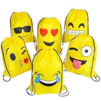 Emoji Drawstring Backpack Bags by NALAKUVARA, 6 Pack Cute Assorted Emoticon Party Favors Supplies Stuff for Kids Teens Girls Boy