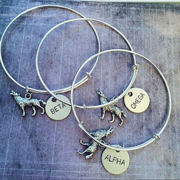 Alpha, Beta, Omega Wolf Expanadable Bracelets FITS WRIST SIZE 7.0 to 8.5 - Best Friend Bracelets - Wolf Pack Jewelry - Teen Wolf Jewelry