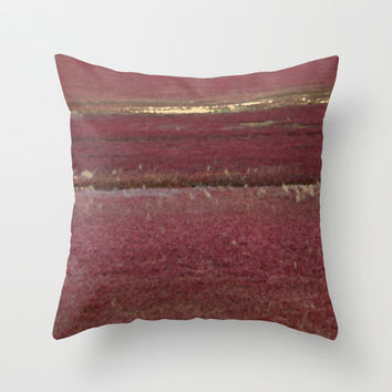 Burgundy Red Cape Cod Cranberry Bog - Throw Pillow Cover