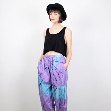 Vintage Tie Dye Harem Pants 1980s 80s New Wave Draped Purple Teal Blue Slouch Pants Hammer Pants Hippie Pants New Wave S M Medium L Large XL