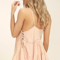 Breathe Easily Light Pink Lace-Up Top