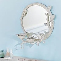 Metal Floral Beauty Storage Mirror