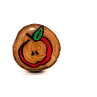 Red Apple Ring | Wood Burned Ring | Apple Painted Ring | Sycamore Tree Slice Ring | Adjustable Wooden Ring | Rustic Woodland Fall Apple Ring