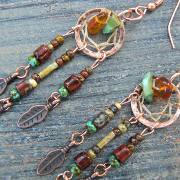 copper and green turquoise dreamcatcher fall earrings turquoise czech beads cuff in boho gypsy hippie hipster native and tribal fusion