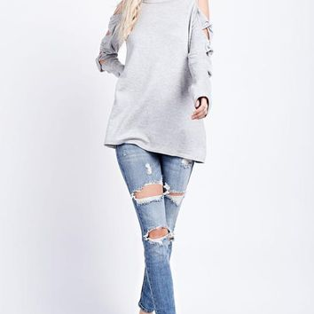USA Twisted Knot Sleeves Top - Heather Gray