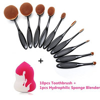 BeautyKate 10 pcs Professional Oval Toothbrush Makeup Brush Set + 1 Hydrophilic Makeup Blender Sponge Puff