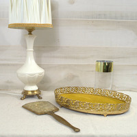 Oval Gold Vanity Tray, Decorative Brass Bathroom Tray, Ornate Perfume Tray with Velvet Lining