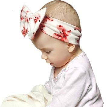 Big Bow Floral Flowers Baby Girl Child Infant Toddler Head Wraps Bandana Headband