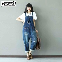 #0324 2017 Fashion Jeans jumpsuit women Vintage Large size Denim overalls women Jumpsuit plus size Body femme