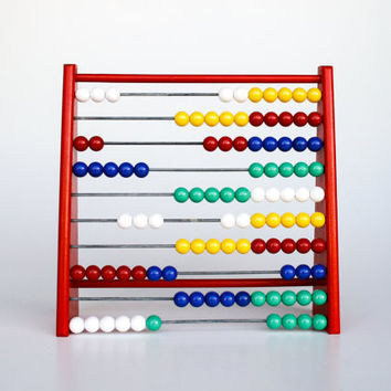 Colourful Abacus Calculator - Wood Toy - Kids Toys - Vintage Kids - Children's Toys - Counting Board
