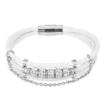White Luxury Woven Designer Solitaire 14k White Gold Finish Wrap Bracelet Magnetic Clasp