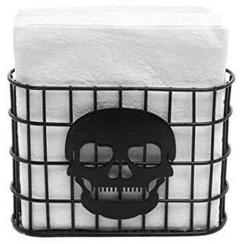 Skull Design Tabletop Napkin Holder, Metal Wire Paper Towel Dispenser, Black