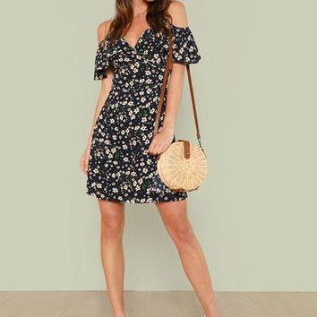 Open Shoulder Wrap Floral Dress