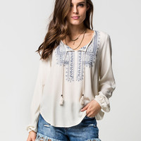 TAYLOR & SAGE Womens Embroidered Peasant Top | Blouses