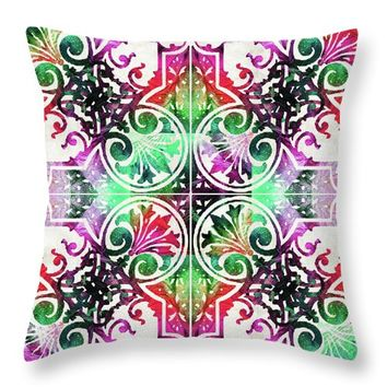 Bright Colorful Pattern Art - Color Fusion Design 10 By Sharon Cummings Throw Pillow
