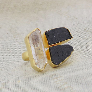 Herkimer Diamond Ring - Gold Vermeil Ring - Rough Gemstone Ring - Black Tourmaline Ring - Handmade Ring - Mineral Ring - Adjustable Ring
