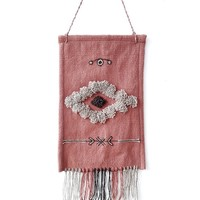 Boho handwoven wall decor in ashes of roses, beige and brown with fringes - unique handmade wall hanging for your home decor by Rugs N' Bags