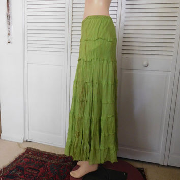 Green Skirt Broomstick Layered Tea Stained Grunge Clothes Gypsy Skirt Upcycled Clothes Size Medium Elastic Waistband