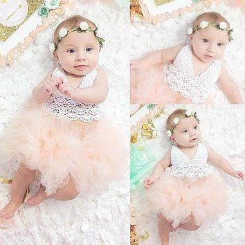 Cute Princess Baby Girl Dress Lace Tulle Romper Jumpsuit Outfits Baby Dress Tutu Girl Dress Sunsuit