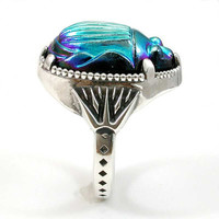 Iridescent Scarab Cocktail Ring - Sterling Silver - Egyptian Revival - Handmade