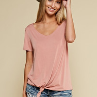Solid V-Neck Twist Top - Mauve